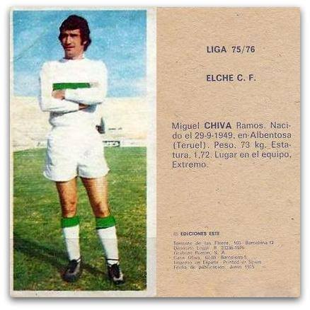 Liga 1975-76. Chiva (Elche C.F.). Ediciones Este. 📸: Grupo de Facebook Nuestros álbumes de cromos.