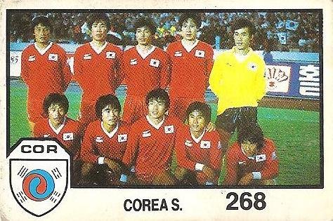 México 86. Alineación Corea del Sur (Corea del Sur) Cromos Barna.
