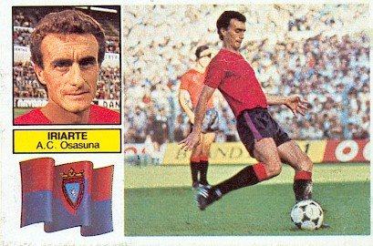 Liga 1982-83. Iriarte (Osasuna). Ediciones Este. 📸: Grupo de Facebook Nuestros álbumes de cromos.