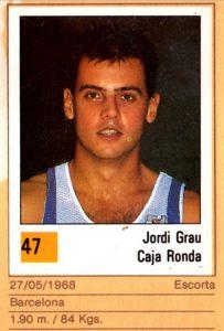 Basket 90 ACB. Jordi Grau (Caja Ronda). Ediciones Panini. 📸: Grupo de Facebook Nuestros álbumes de cromos.