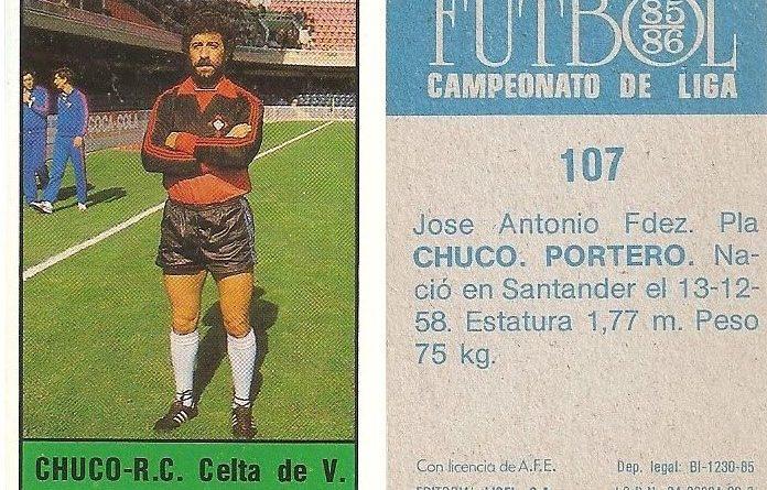 Fútbol 85-86. Campeonato de Liga. Chuco (Real Club Celta de Vigo). Editorial Lisel.