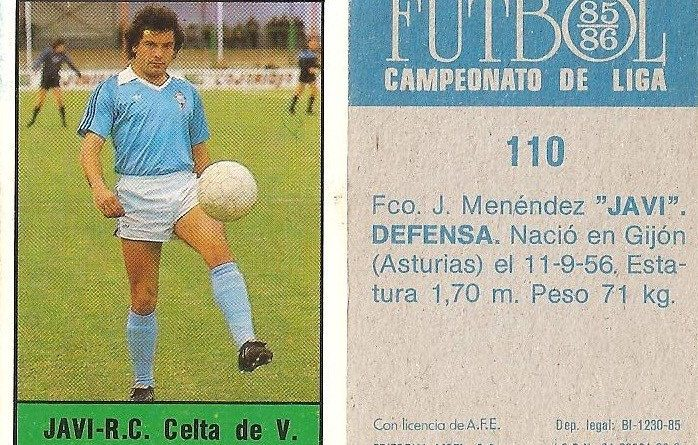 Fútbol 85-86. Campeonato de Liga. Javi (Real Club Celta de Vigo). Editorial Lisel.