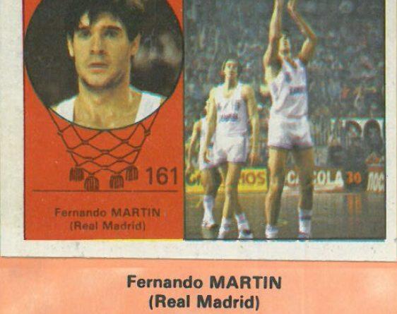 Campeonato Baloncesto Liga 1984-1985. Fernando Martín (Real Madrid). Ediciones J. Merchante - Clesa. 📸: Emilio Rodríguez Bravo.