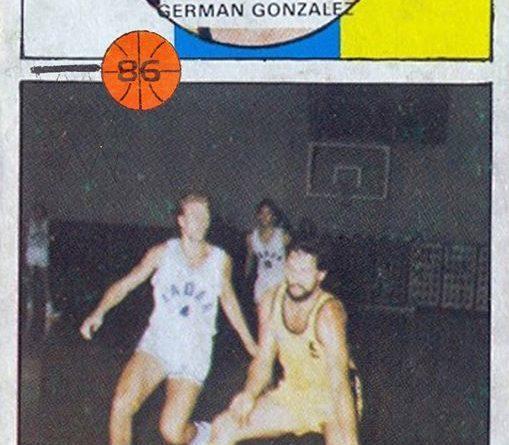 Baloncesto 1986-87. Germán González (Cajacanarias). Editorial J. Merchante. 📸: Grupo de Facebook Nuestros Álbumes de Cromos.
