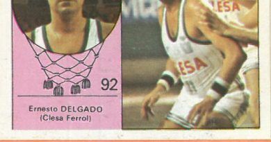 Campeonato Baloncesto Liga 1984-1985. Ernesto Delgado (Clesa Ferrol). Ediciones J. Merchante - Clesa. 📸: Emilio Rodríguez Bravo.