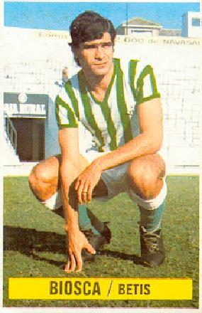Liga 74-75. Biosca (Real Betis). Ediciones Este y Chicles Sanber. 📸: Grupo de Facebook Nuestros álbumes de cromos.