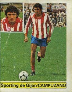 Liga 81-82. Campuzano (Sporting de Gijón). Ediciones Este. 📸: Grupo de Facebook Nuestros álbumes de cromos.