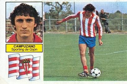 Liga 82-83. Campuzano (Sporting de Gijón). Ediciones Este. 📸: Grupo de Facebook Nuestros álbumes de cromos.