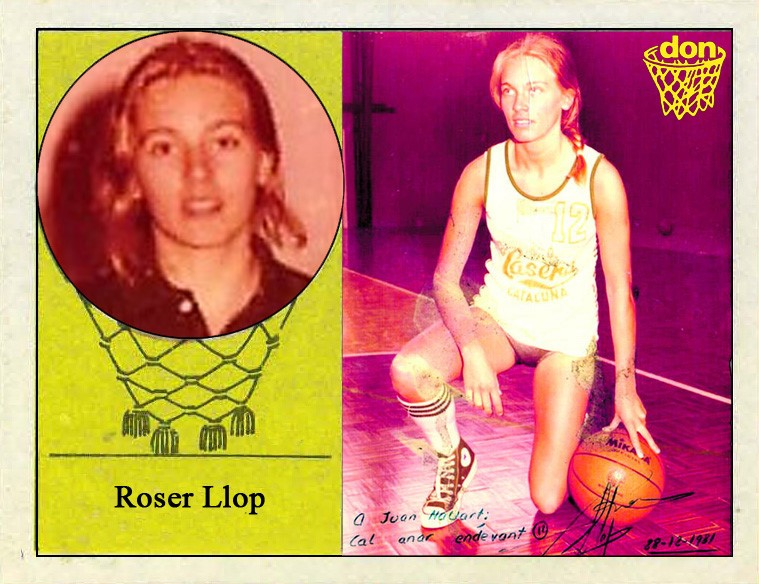 Roser Llop (C.B. A.D. La Casera Figueres). Fotografía Cromo-Montaje del Grupo de Facebook Nuestros álbumes de cromos.