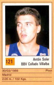 Basket 90 ACB. Antón Soler (BBV Collado Villalba). Ediciones Panini. 📸: Grupo de Facebook Nuestros álbumes de cromos.