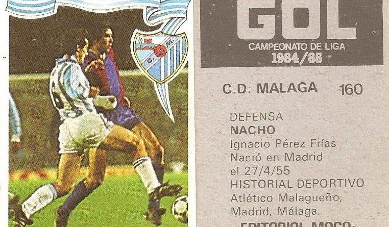 Gol. Campeonato de Liga 1984-85. Nacho (C.D. Málaga). Editorial Maga.
