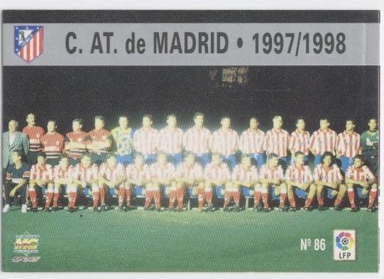 Las fichas de la Liga 97-98. Nº 86. Plantilla del Atlético de Madrid (Atlético de Madrid). Editorial Mundicromo.