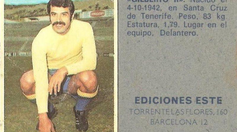 Campeonato de liga 1974-75. Gilberto II (UD Las Palmas). Ediciones Este y Chicles Sanber. 📸: Grupo de Facebook Nuestros álbumes de cromos.