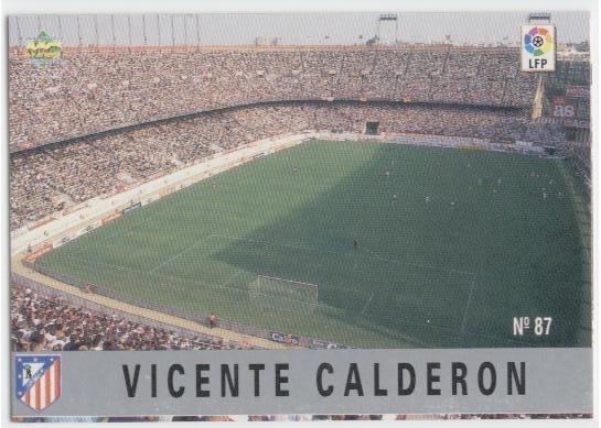 Las fichas de la Liga 97-98. Nº 87. Estadio Vicente Calderón (Atlético de Madrid). Editorial Mundicromo.