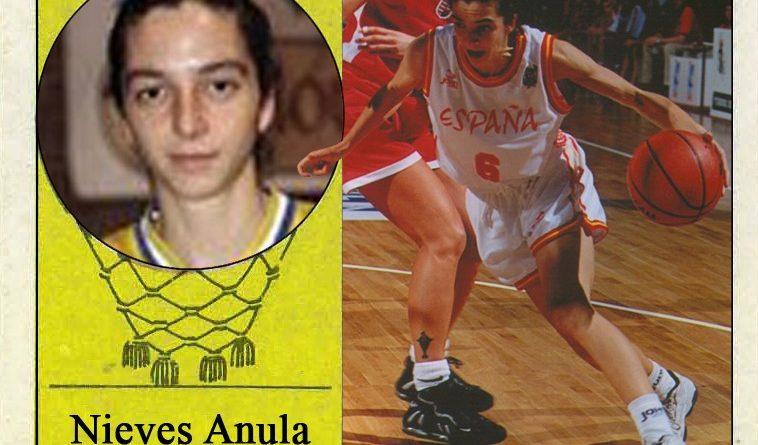 Nieves Anula (Selección española de baloncesto femenino). 📸: Cromo-Montaje del Grupo de Facebook Nuestros álbumes de cromos.