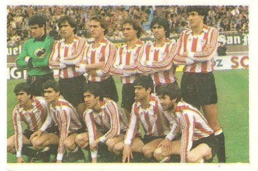 Fútbol 84. Alineación Athletic Club de Bilbao (Athletic Club de Bilbao). Cromos Cano.