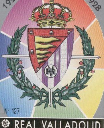 Las fichas de la Liga 97-98. Nº 127. Escudo del Real Valladolid (Real Valladolid). Editorial Mundicromo.