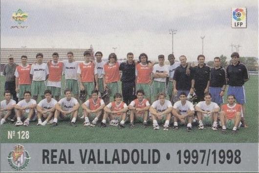 Las fichas de la Liga 97-98. Nº 128. Plantilla del Real Valladolid (Real Valladolid). Editorial Mundicromo.