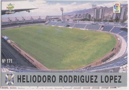 Las fichas de la Liga 97-98. Nº 171. Estadio Heliodoro Rodríguez López (C.D. Tenerife). Editorial Mundicromo.