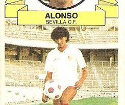 Liga 85-86. Alonso (Coloca por Benítez) (Sevilla C.F.). Ediciones Este.