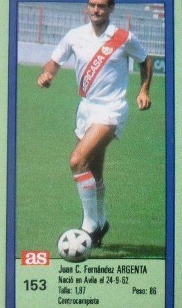 Ases de la Liga 1989-90. Nº 153. Argenta (Rayo Vallecano). 📸: Pedro Martínez Aguado.