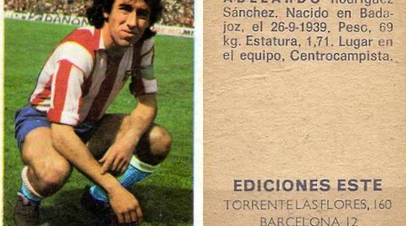 Campeonato de Liga 1974-75. Adelardo (Atletico de Madrid). Ediciones Este y Chicles Sanber. 📸: Grupo de Facebook Nuestros álbumes de cromos.