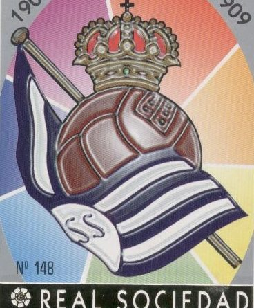 Las fichas de la Liga 97-98. Nº 148. Escudo de la Real Sociedad (Real Sociedad). Editorial Mundicromo.
