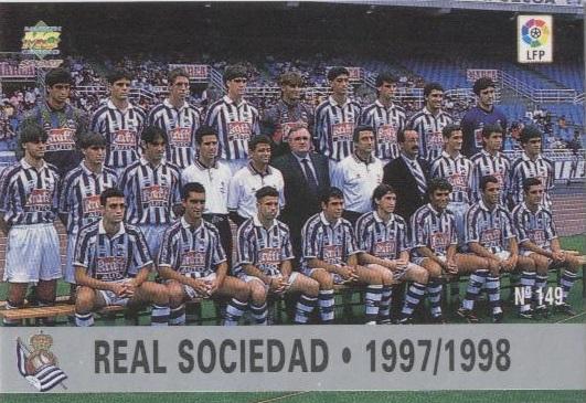 Las fichas de la Liga 97-98. Nº 149. Plantilla de la Real Sociedad (Real Sociedad). Editorial Mundicromo.
