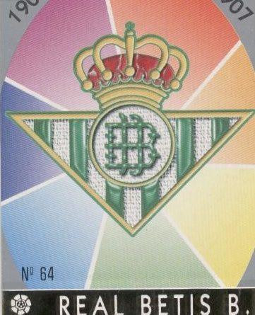 Las fichas de la Liga 97-98. Nº 64. Escudo del Real Betis (Real Betis). Editorial Mundicromo.