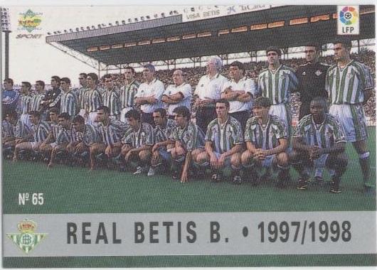 Las fichas de la Liga 97-98. Nº 65. Plantilla del Real Betis (Real Betis). Editorial Mundicromo.