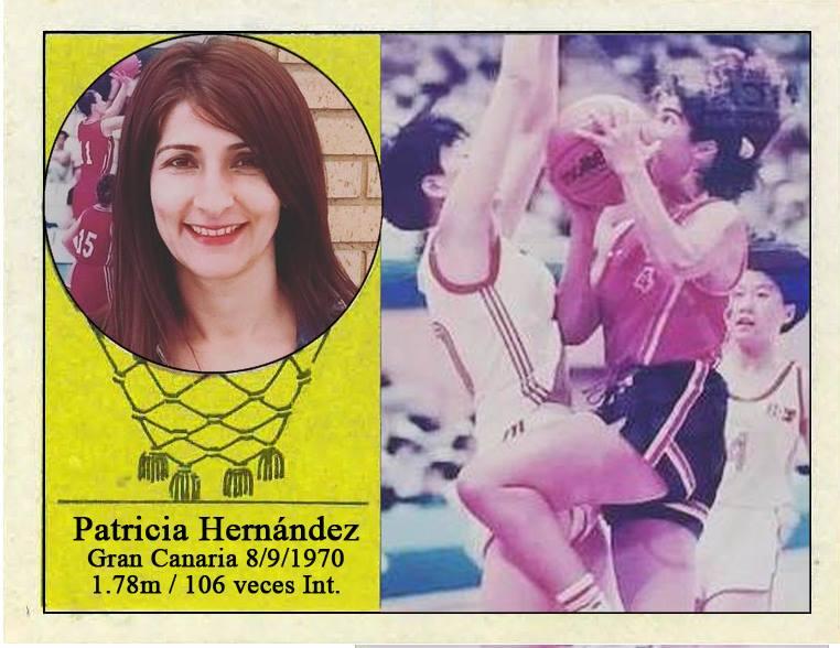 Patricia Hernández (Selección española de baloncesto femenino). Fotografía Cromo-Montaje del Grupo de Facebook Nuestros álbumes de cromos