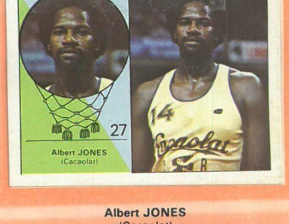 Campeonato Baloncesto Liga 1984-1985. Albert Jones (Cacaolat). Ediciones J. Merchante - Clesa. 📸: Emilio Rodriguez Bravo.