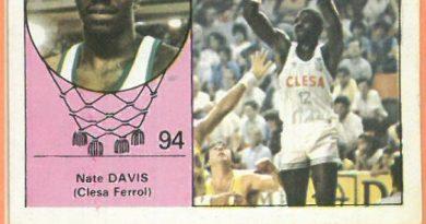 Campeonato Baloncesto Liga 1984-1985. Nate Davis (Clesa Ferrol). Ediciones J. Merchante - Clesa. 📸: Emilio Rodríguez Bravo.