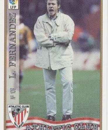 Las fichas de la Liga 97-98. Nº 109. Luis Fernández (Athletic Club). Editorial Mundicromo.