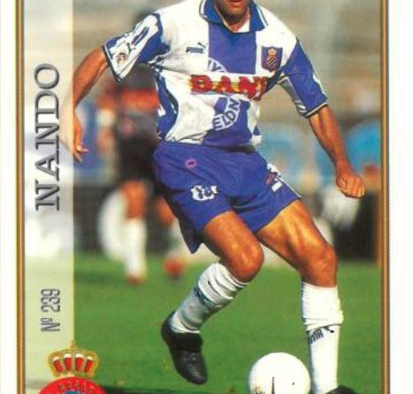 Las fichas de la Liga 97-98. Nº 239. Nando (R.C.D. Espanyol). Editorial Mundicromo.