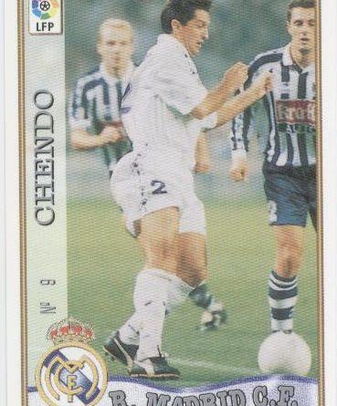 Las fichas de la Liga 97-98. Nº 9. Chendo (Real Madrid C.F.). Editorial Mundicromo.