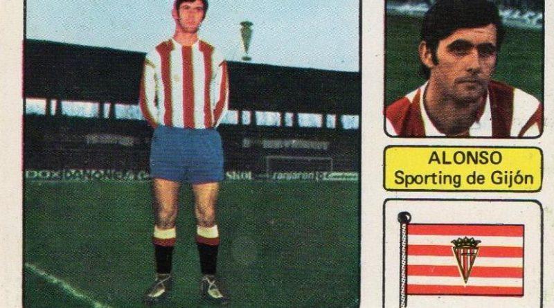 Liga 73-74. Alonso (Real Sporting de Gijón). Editorial Fher. 📸: Juan Álvarez.