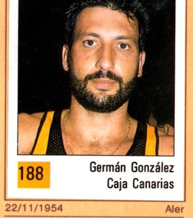 Basket 90 ACB. Germán González (Cajacanarias). Ediciones Panini. 📸: Grupo de Facebook Nuestros álbumes de cromos.
