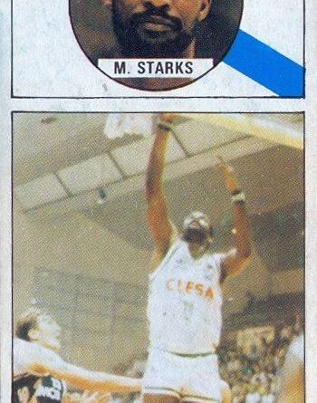 Baloncesto 86-87. Marcelous Starks (Clesa Ferrol). Editorial J. Merchante. 📸: Grupo de Facebook Nuestros álbumes de cromos.