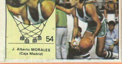 Campeonato Baloncesto Liga 1984-1985. J. Alberto Morales (Caja Madrid). Ediciones J. Merchante - Clesa. 📸: Emilio Rodríguez Bravo.