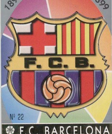 Las fichas de la Liga 97-98. Nº 22. Escudo del F.C. Barcelona (F.C. Barcelona). Editorial Mundicromo.