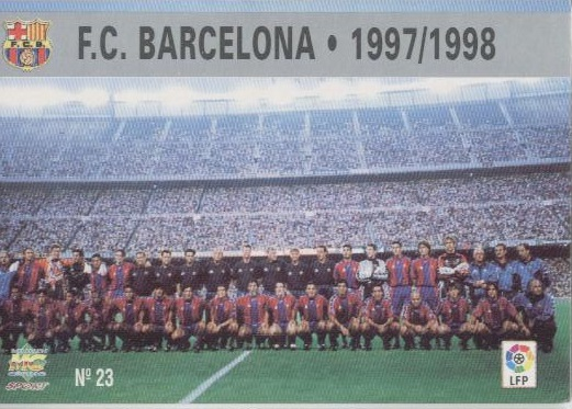 Las fichas de la Liga 97-98. Nº 23. Plantilla del F.C. Barcelona (F.C. Barcelona). Editorial Mundicromo.