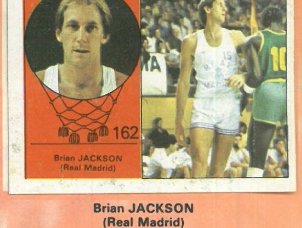 Campeonato Baloncesto Liga 1984-1985. Brian Jackson (Real Madrid). Ediciones J. Merchante - Clesa. 📸: Emilio Rodriguez Bravo.