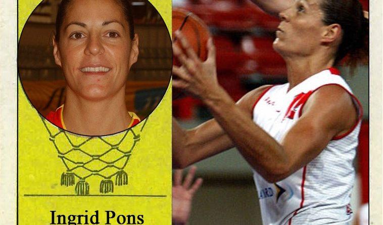Íngrid Pons (Selección española de baloncesto femenino). Fotografía Cromo-Montaje del Grupo de Facebook Nuestros álbumes de cromos.