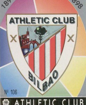 Las fichas de la Liga 97-98. Nº 106. Escudo del Athletic Club (Athletic Club). Editorial Mundicromo.