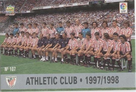 Las fichas de la Liga 97-98. Nº 107. Alineación del Athletic Club (Athletic Club). Editorial Mundicromo.