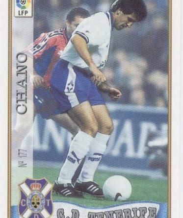 Las fichas de la Liga 97-98. Nº 177. Chano (C.D. Tenerife). Editorial Mundicromo.