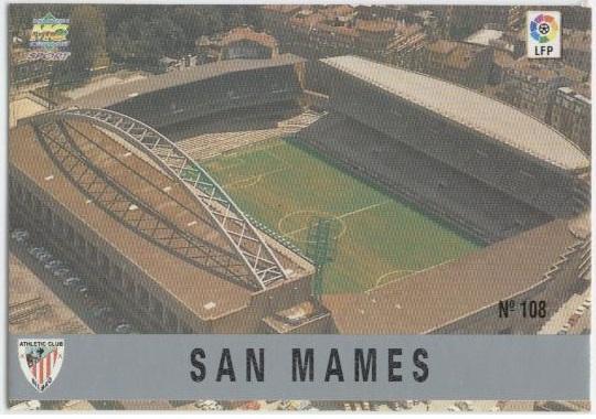 Las fichas de la Liga 97-98. Nº 108. Estadio de San Mamés (Athletic Club). Editorial Mundicromo.