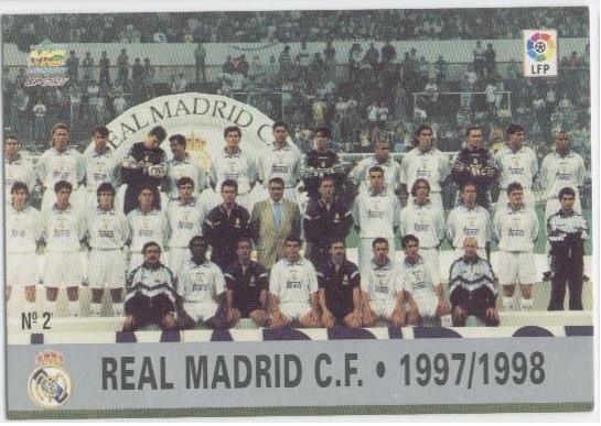 Las fichas de la Liga 97-98. Nº 2. Plantilla del Real Madrid C.F. (Real Madrid C.F.). Editorial Mundicromo.