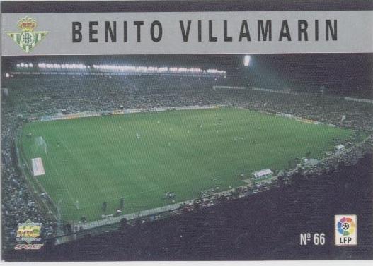 Las fichas de la Liga 97-98. Nº 66. Estadio Benito Villamarín (Real Betis). Editorial Mundicromo.